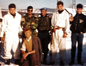 With Bosnian soldiers