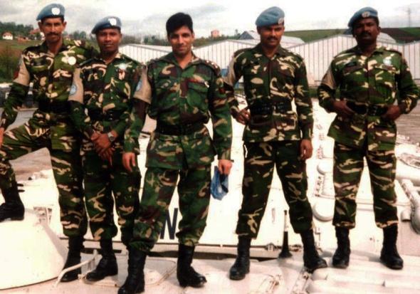 Major Ezaz and fellow Bangladeshi soldiers