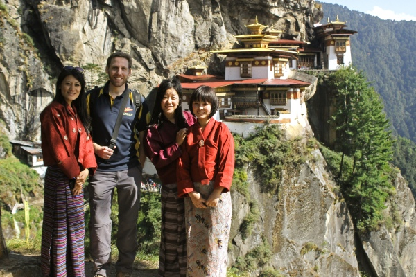 Dechen, Pema, and Sonam in traditional dress